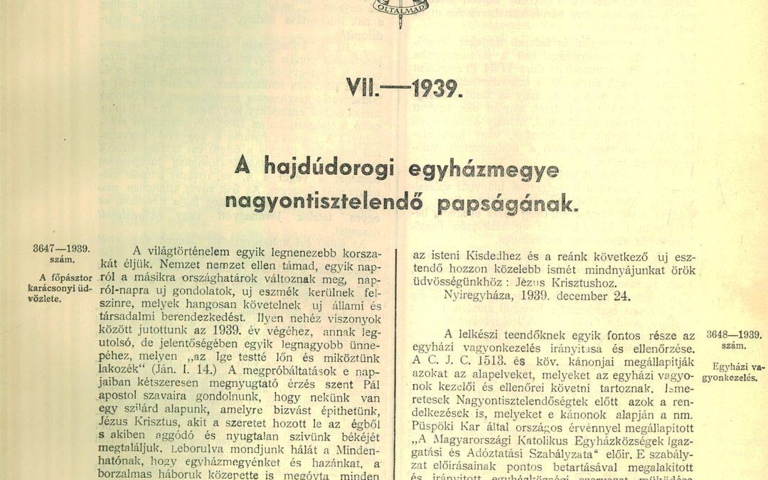 2019. december – Dr. Dudás Miklós megyéspüspök karácsonyi üdvözlete 80 évvel ezelőtt