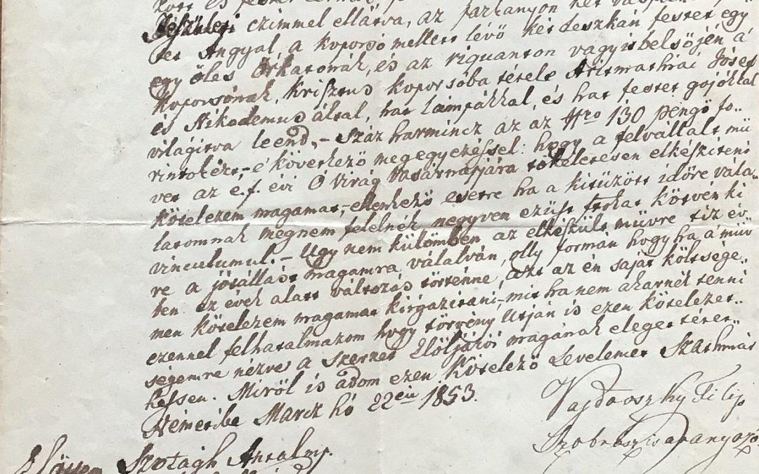 2020. március – A Nagy Szent Bazil Rend és Vajdovszky Filep szobrász közötti szerződés a Krisztus-koporsó kifaragására 1853-ban