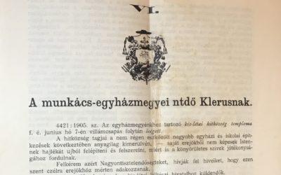 2020. július – 115 éve történt – adalékok a kislétai görögkatolikus egyházközség történetéhez