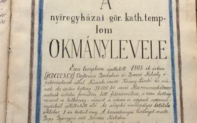 """2020. október – """"Ezen hiteles másolat eredetije egy olajjal telt s légmentesen elzárt üvegedénybe foglalva az alapkőbe helyeztetett"""" – 125 éve történt a mai Szent Miklós-székesegyház alapkőletétele"""