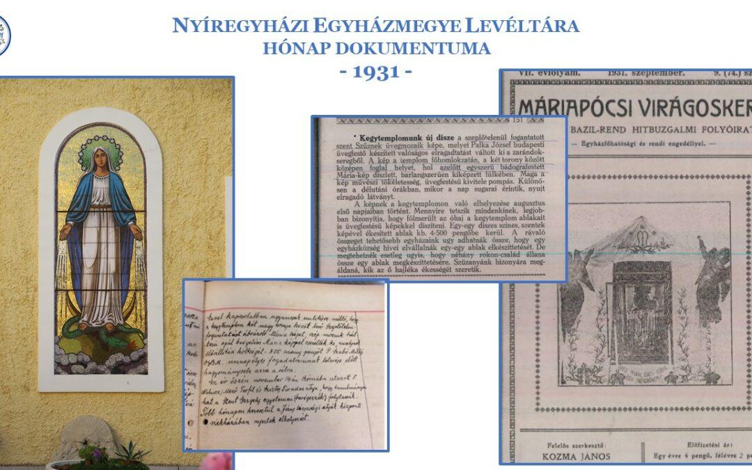 2021. március – 90 évvel ezelőtt készült a kegytemplom falára a Mária-mozaikkép