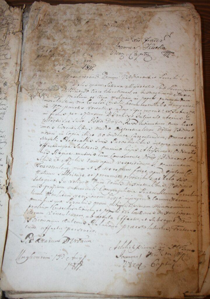 1.1.) Nyírpilisi protokollum: 1810–1842; Restaurálás előtti állapot (NYEL II–15–c. II. 15. oldal)