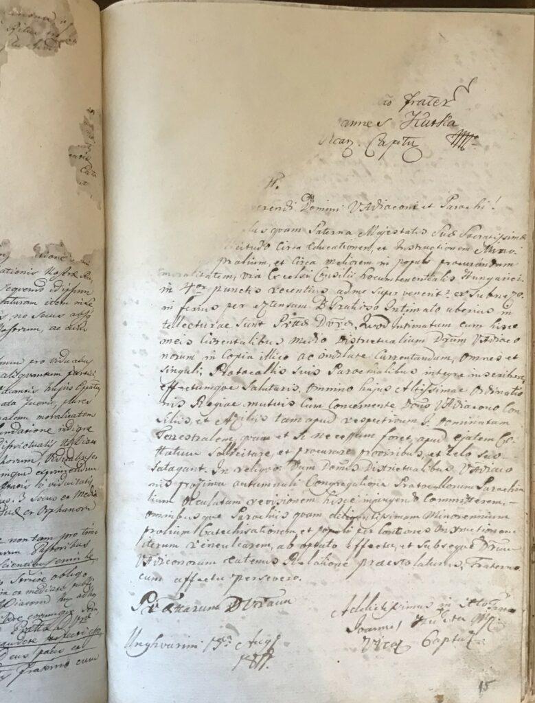 1.2.) Nyírpilisi protokollum: 1810–1842; Restaurált állapot (NYEL II–15–c. II. 15. oldal)