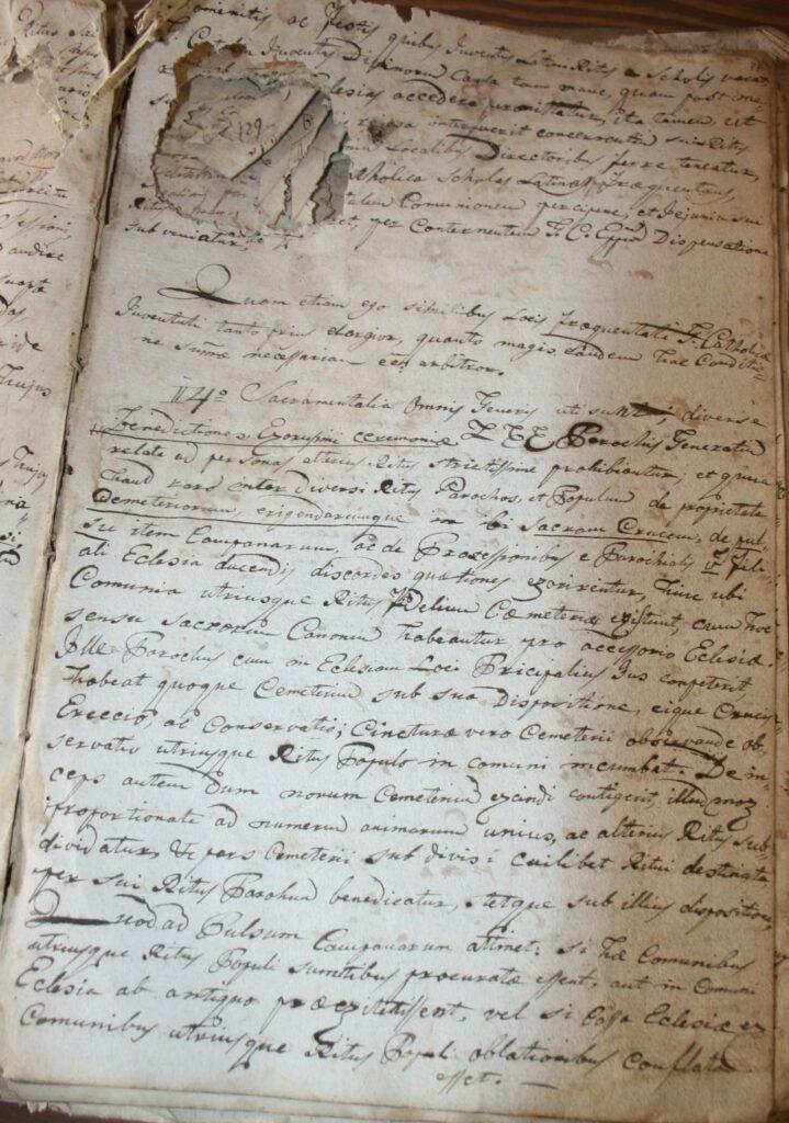 2.1.) Nyírpilisi protokollum: 1810–1842; Restaurálás előtti állapot (NYEL II–15–c. II. 47. oldal)